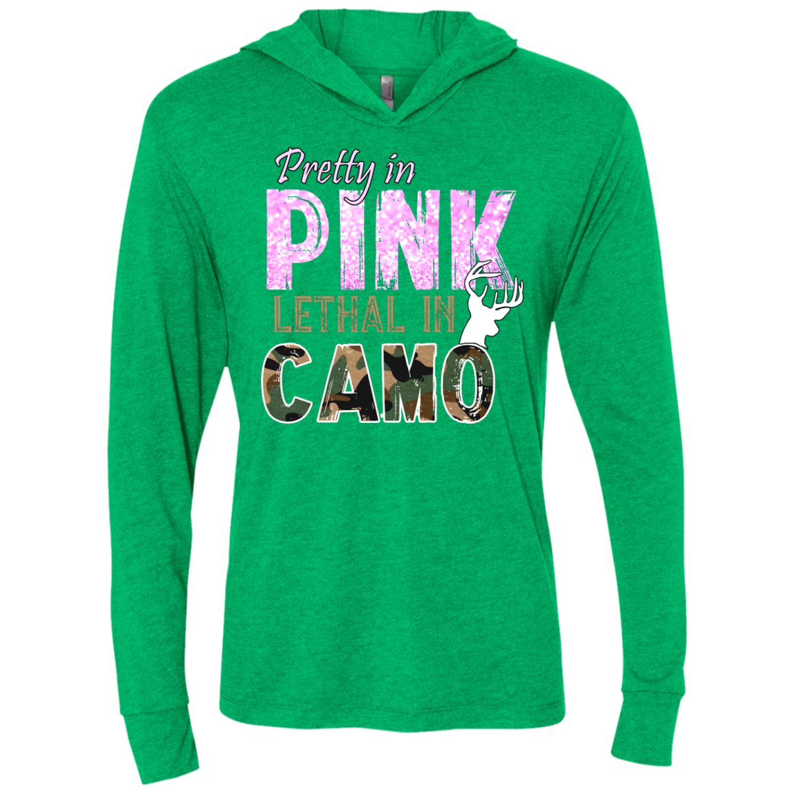 """Pretty In Pink. Lethal In Camo"" Next Level Unisex Triblend LS Hooded T-Shirt"