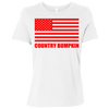 """Country Bumpkin"" Red American Flag B6400 Ladies' Relaxed Jersey Short-Sleeve T-Shirt"