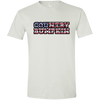 """Country Bumpkin"" Camo US Flag Text Gildan Softstyle T-Shirt"