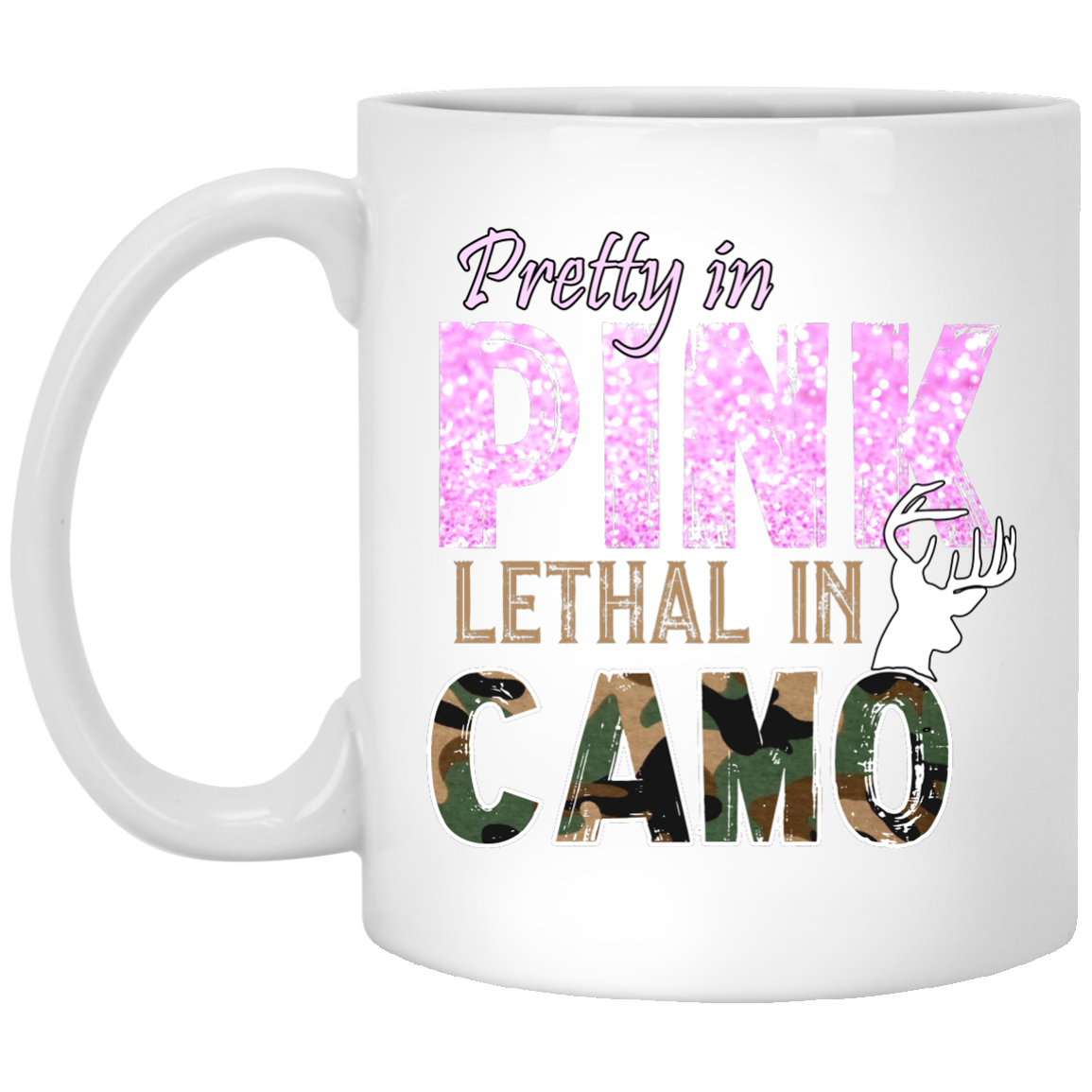 Pretty in Pink Lethal In Camo 11 oz. White Mug