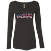 """Country Bumpkin"" Camo US Flag Text Next Level Ladies' Triblend LS Scoop"