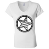 """Country Bumpkin"" Diagonal Star with Flag B6005 Ladies' Jersey V-Neck T-Shirt"