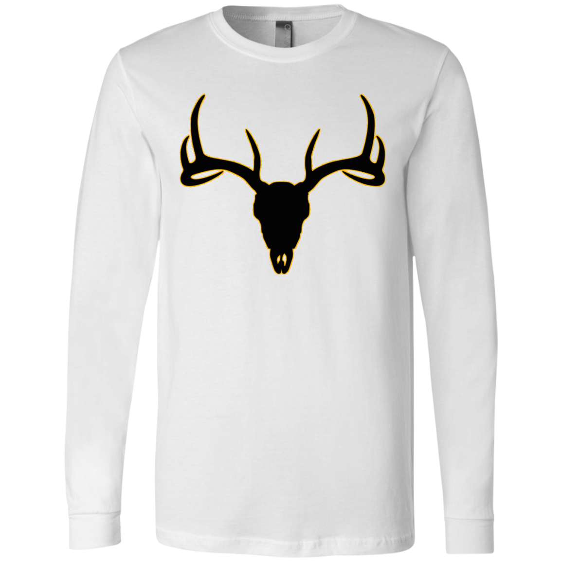 Buck Head Deer Skull 3501 Bella + Canvas Men's Jersey LS T-Shirt