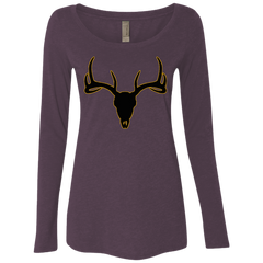 Buck Head Deer Skull NL6731 Next Level Ladies' Triblend LS Scoop