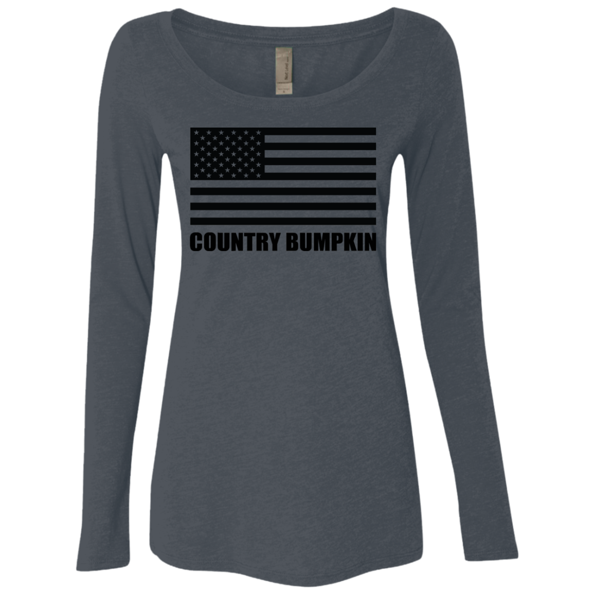Country Bumpkin US Flag NL6731 Ladies' Triblend LS Scoop