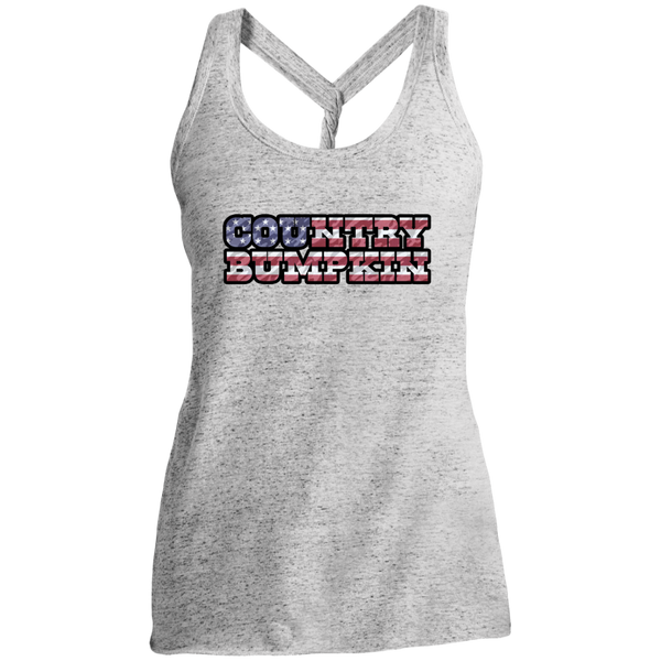 """Country Bumpkin"" Camo US Flag Text District Made Ladies' Cosmic Twist Back Tank"
