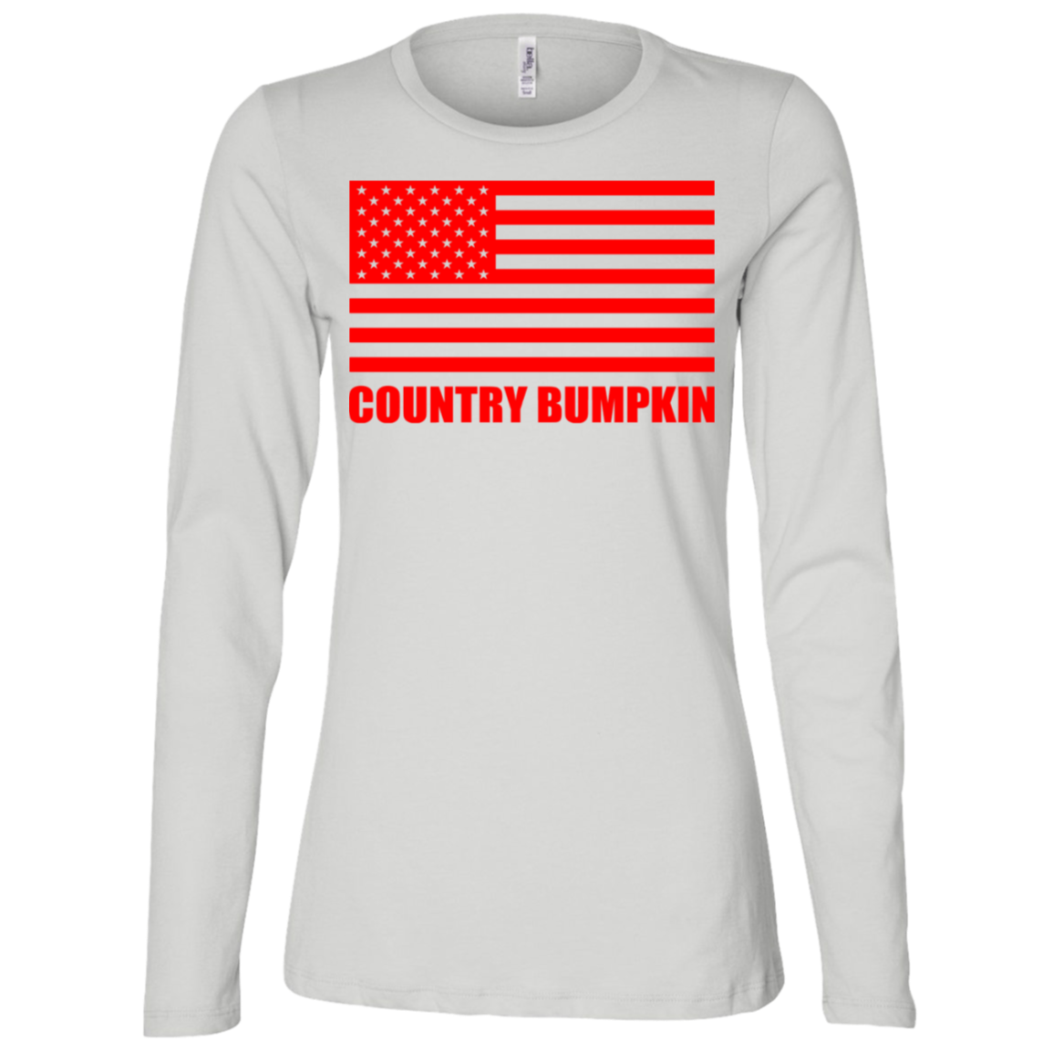 """Country Bumpkin"" Red American Flag B6450 Ladies' Jersey LS Missy Fit"