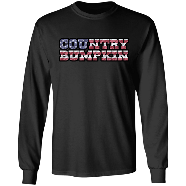"""Country Bumpkin"" Camo US Flag Text Gildan LS Ultra Cotton T-Shirt"