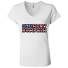 """Country Bumpkin"" Camo US Flag Text Bella + Canvas Ladies' Jersey V-Neck T-Shirt"