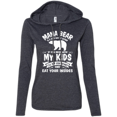 """Mama Bear"" 887L Anvil Ladies' LS T-Shirt Hoodie"
