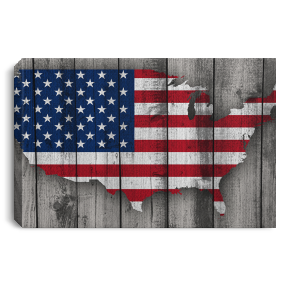 USA Flag On Weathered Wood Wall Canvas .75in Frame