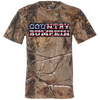 """Country Bumpkin"" Camo US Flag Text Code V Short Sleeve Camouflage T-Shirt"