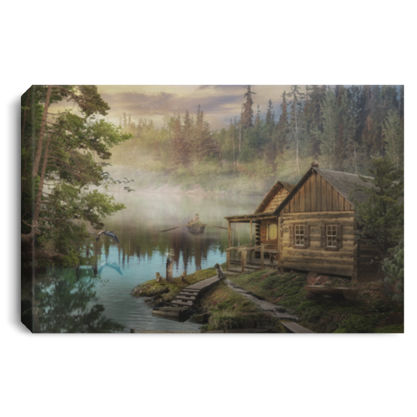 Country Cabin Morning Mist Wall Canvas .75in Frame