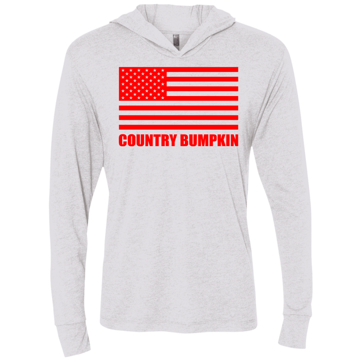 """Country Bumpkin"" Red American Flag NL6021 Unisex Triblend LS Hooded T-Shirt"
