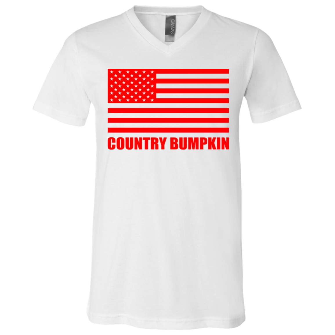 """Country Bumpkin"" Red American Flag 3005 Unisex Jersey SS V-Neck T-Shirt"