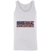 """Country Bumpkin"" Camo US Flag Text Bella + Canvas Unisex Tank"