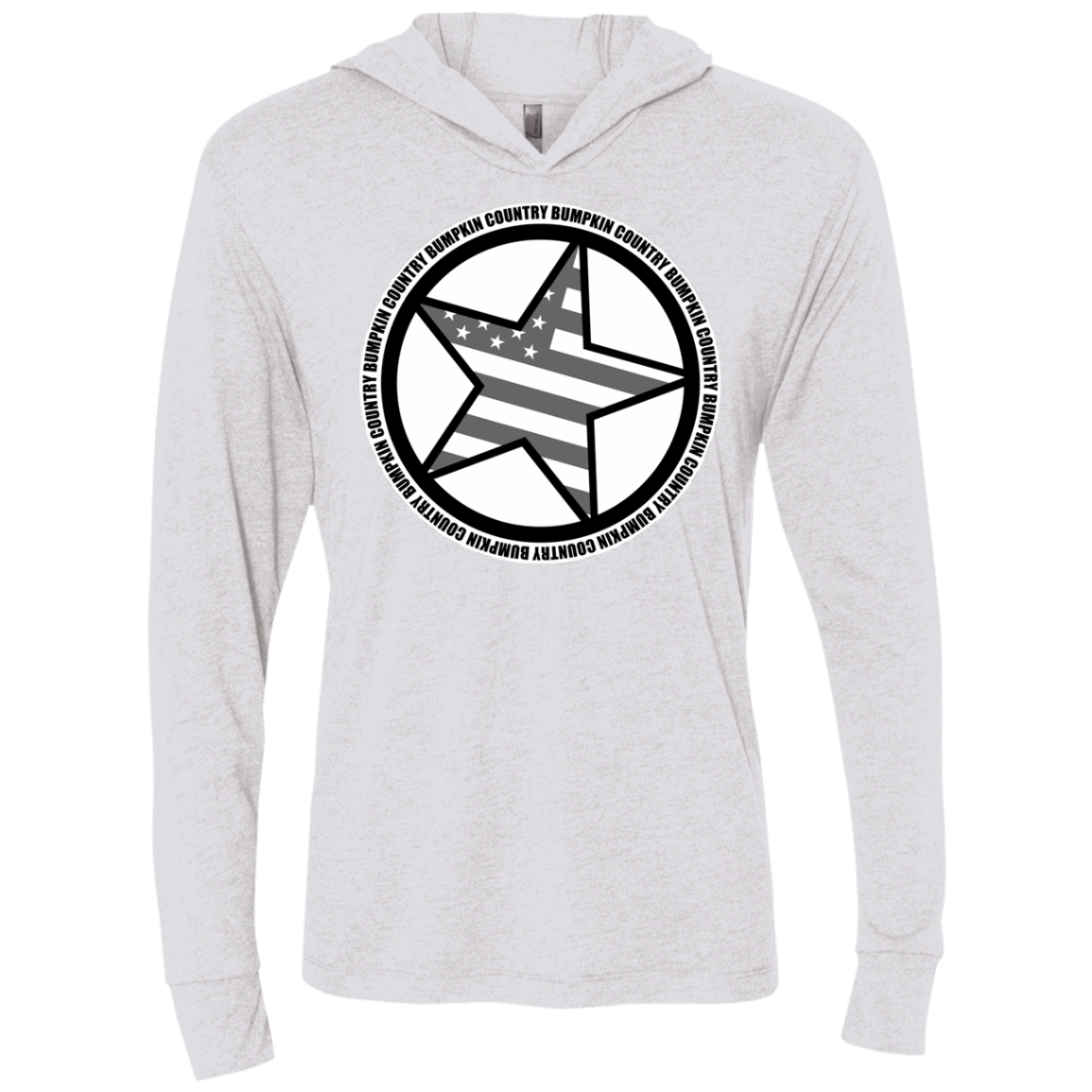 """Country Bumpkin"" Diagonal Star with Flag NL6021 Unisex Triblend LS Hooded T-Shirt"