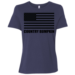 Country Bumpkin Black USA Flag B6400 Ladies' Relaxed Jersey Short-Sleeve T-Shirt