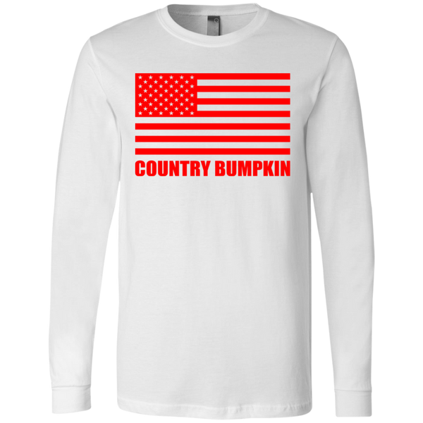 """Country Bumpkin"" Red American Flag 3501 Men's Jersey LS T-Shirt"