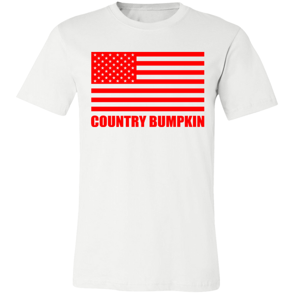 """Country Bumpkin"" Red American Flag 3001C Unisex Jersey Short-Sleeve T-Shirt"
