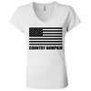 Country Bumpkin American Flag B6005 Ladies' Jersey V-Neck T-Shirt