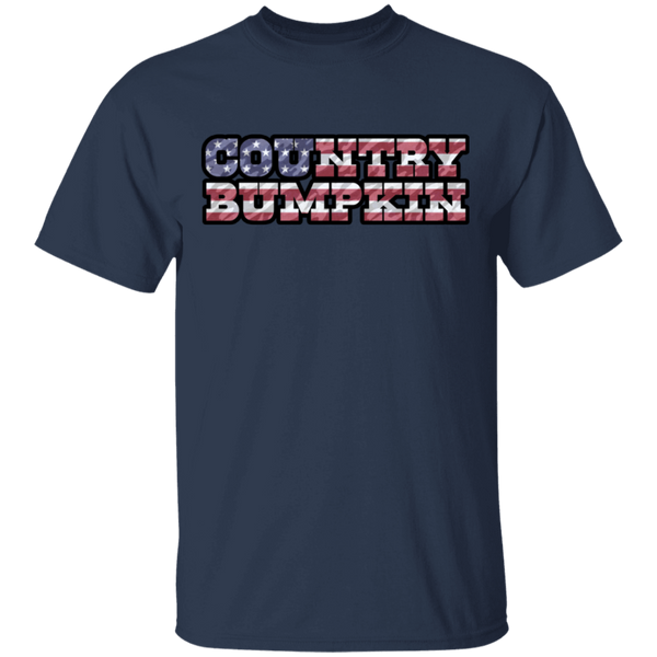 """Country Bumpkin"" Camo US Flag Text Gildan Ultra Cotton T-Shirt"