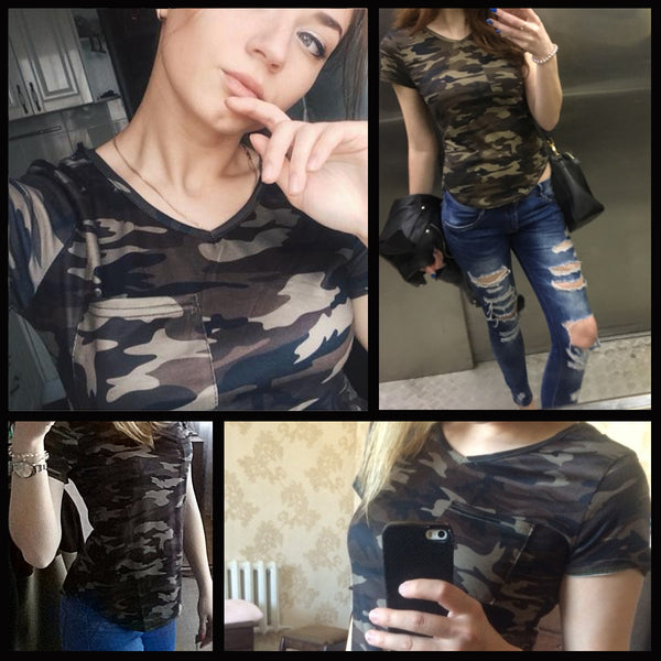 Women's V Neck Army Camo Short Sleeved T-Shirt