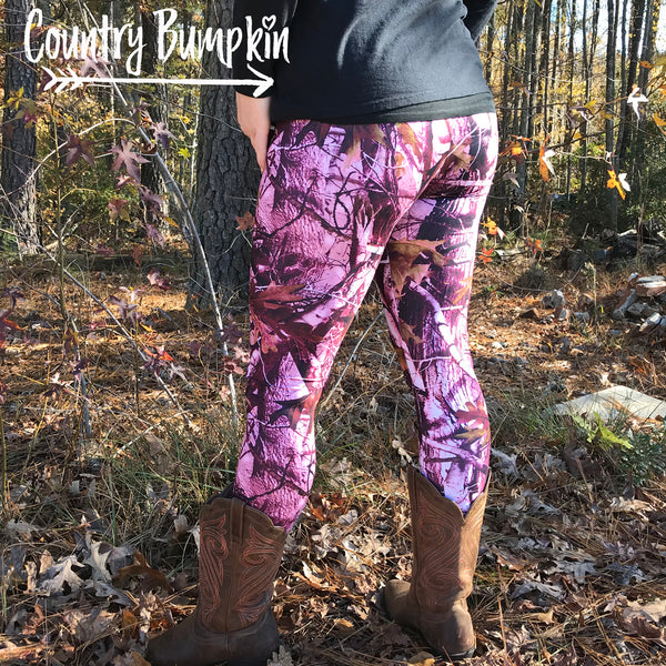 3D Tree Pink Camo Leggings - Gym, Yoga, Sports, Fitness Pants. Fits Sizes XS - L