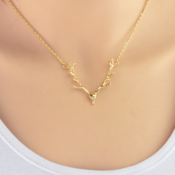 Elk/Deer Antler Necklace Pendant in Gold Or Silver Color