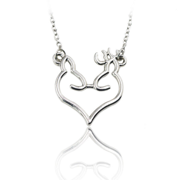 Deer Lovers His and Hers Buck And Doe Kissing Necklace