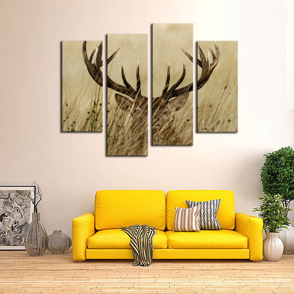 4 Piece Canvas Deer Buck Wall Art Home Decor