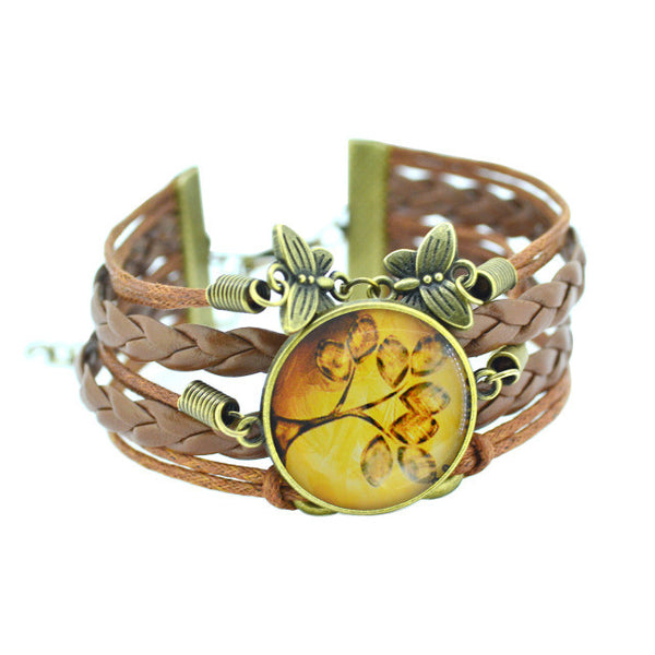 Tree Of Life Country Style Vintage Look Leather Charm Bracelet