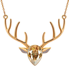 Rhinestone Crystal Deer Head Antler Pendant Necklace