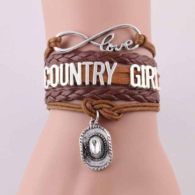 Cute Country Girl Leather Charm Bracelet With Cowgirl Hat