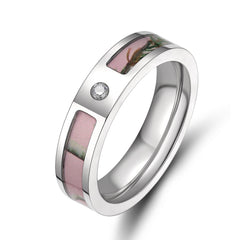 Beautiful Small Faux Diamond Pink Real Camo Inlay Wedding/Engagement Ring