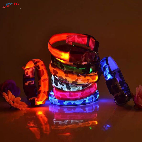Flashing LED CAMO Dog Collar - Camouflage Night Safety Dog Dollar