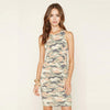 Camo BodyCon Sleeveless Casual Dress - Long Mini, Camouflage, Sizes XS through L