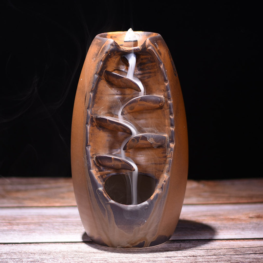 Ceramic  Incense Waterfall  for Meditation,Crafts, Home Decoration Zen Gift.