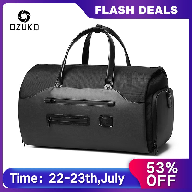 OZUKO Multifunction Men Suit Storage Travel Bag Large Capacity Luggage Handbag Male Waterproof Travel Duffel Bag Shoes Pocket