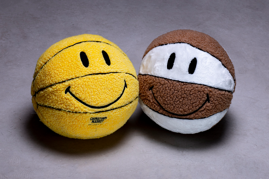 CHINATOWN MARKET's Signature 'Smiley' Design On The Plush Basketball at JUICE!