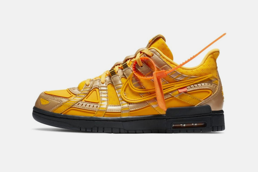 "RAFFLE: Off-White x Nike Rubber Dunk ""University Gold"""