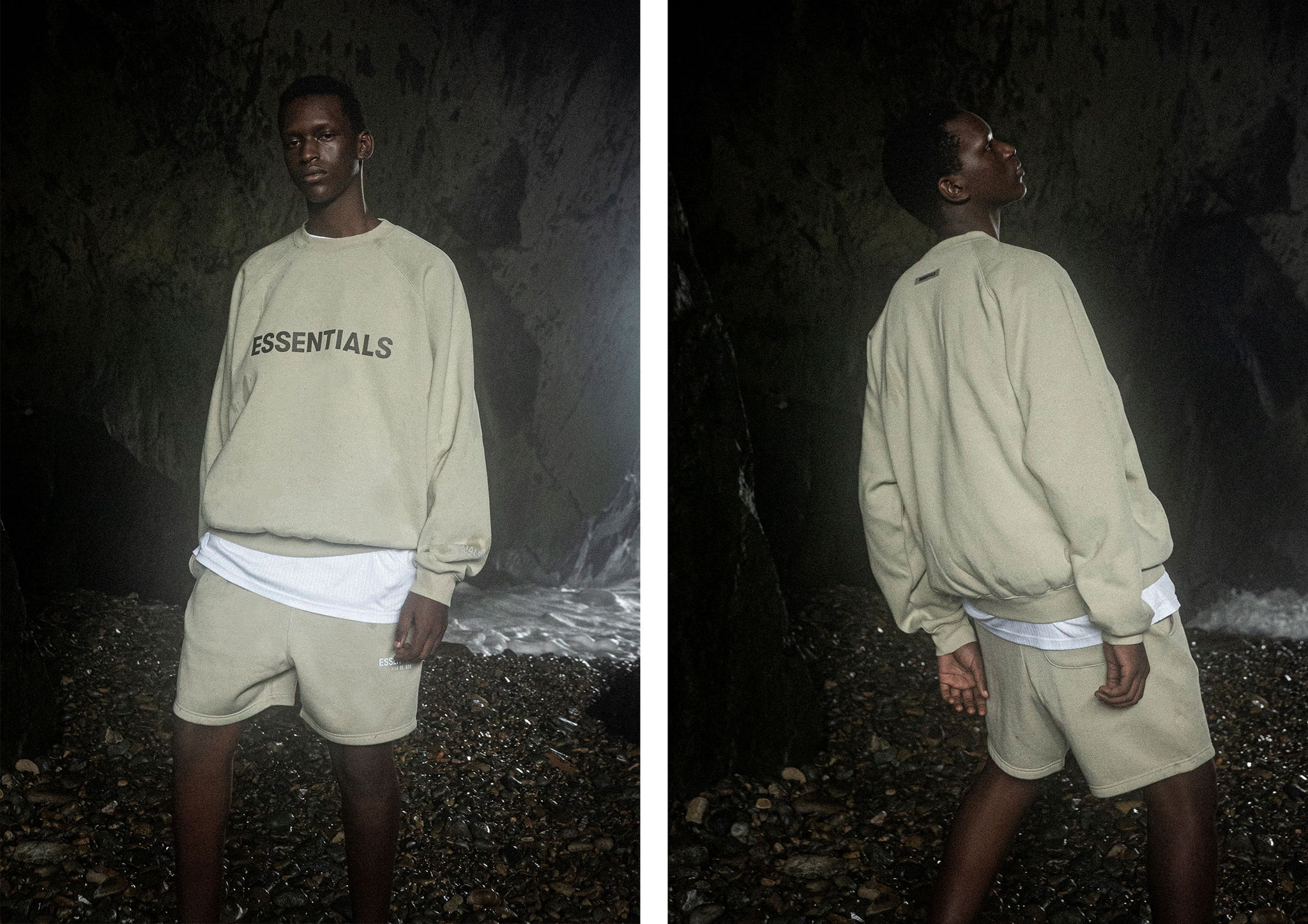 Fear of God ESSENTIALS SAGE CREWNECK + SHORTS