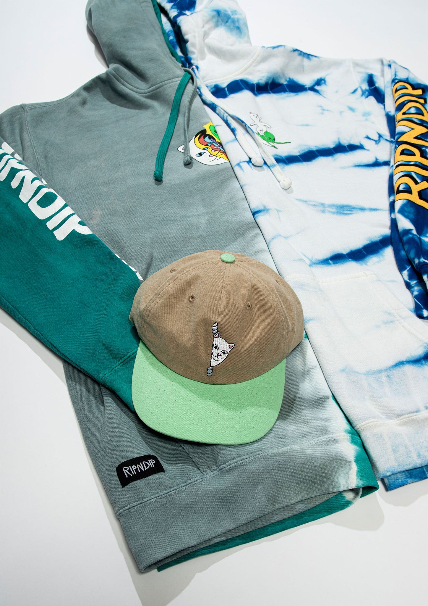 RIPNDIP FW20 Tie-dye hoodie, regular grey graphic hoodie, brown and green snapback