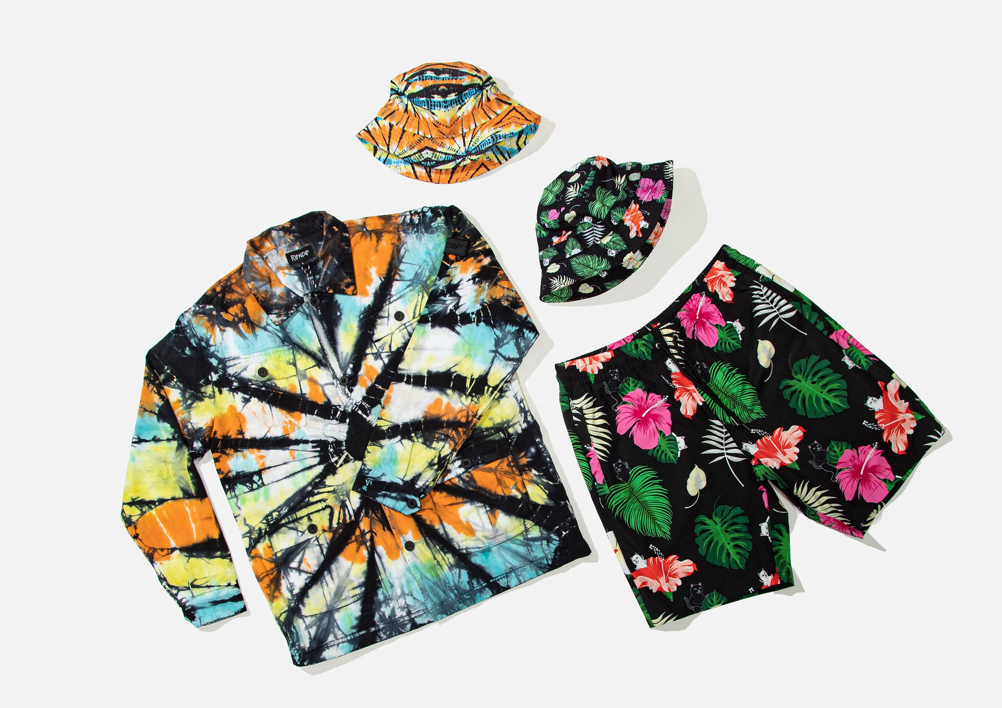 RIPNDIP FW20 Tie-Dye Button-Up Shirt, Bucket Hat, Hawaiian Bucket Hat and Shorts