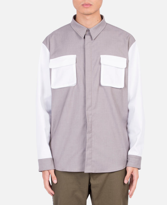 Double Pocket L/S Shirt (White)