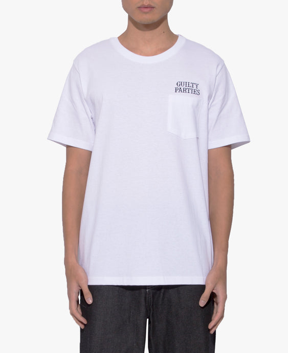 Over Size Crew Neck Pocket T-Shirt (Type-2) (White)