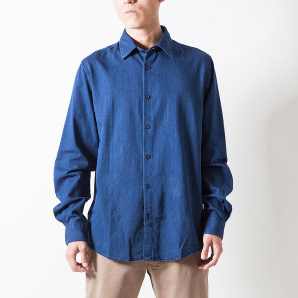 INDIGO TWILL L/S WASHED SHIRT