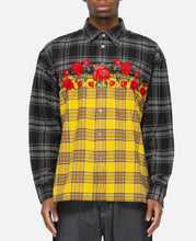Embroidered Rose Flannel (Black)