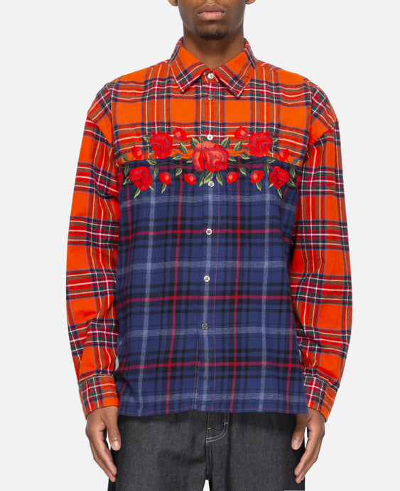 Embroidered Rose Flannel (Red)