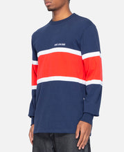 16 Oz Multi Stripe L/S T-Shirt (Navy)